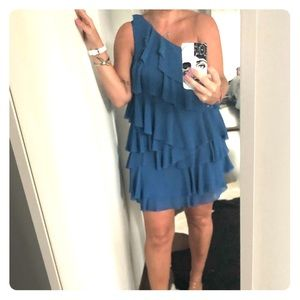 H&M Ruffle dress Blue + One shoulder